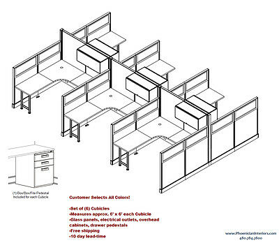 SET OF 6 OFFICE CUBICLES SYSTEMS WORKSTATIONS with Glass Panels and Cabinets