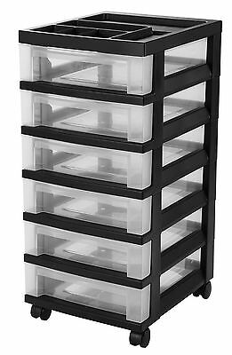 Cart Storage Rolling Organizer Drawer Craft Office Scrapbooking Black/Clear  NEW