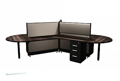 3 Person L Shaped Workstations Office Cubicles Mobile Pedestals Many Colors