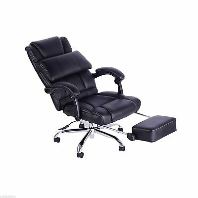 HOMCOM Delux Executive Bonded Recliner Office Chair Desk Seat w/ Footrest Pillow