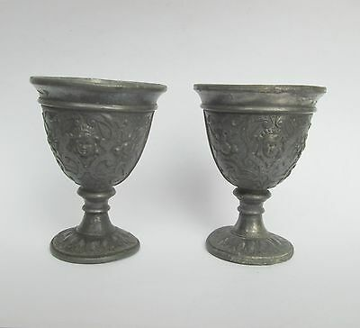 19c. PAIR ANTIQUE BAROQUE PEWTER RICHLY DECORATED ART NOUVEAU SMALL CUP TASS