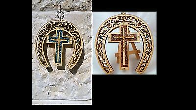 Wood Cross Decor  Christian Religious Plaque Lucky Horseshoe Charm Icon Gift