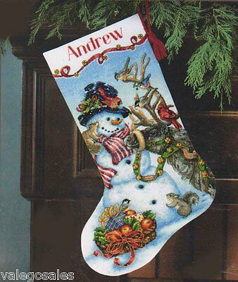 Dimensions Gold Counted Cross Stitch Kit ~ SNOWMAN GATHERING STOCKING #70-08866