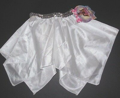 NWT White Satinette Pointed Dance Skirt Silver sequin stretch waist 2szs Dressup