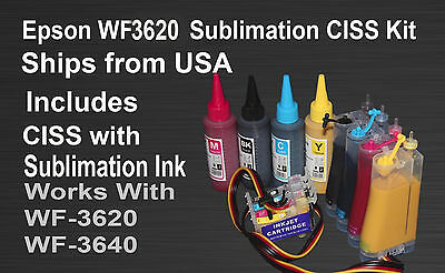 CISS Sublimation Ink Kit Fits Epson WF-3620 WF-3640 4x100ml Bottles Ink Include