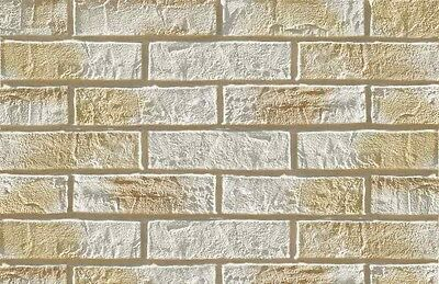 BRICK SLIPS CLADDING WALL TILES FLEXIBLE (Pack of 52) 1 Sqm  WHITE-BEIGE BRICK