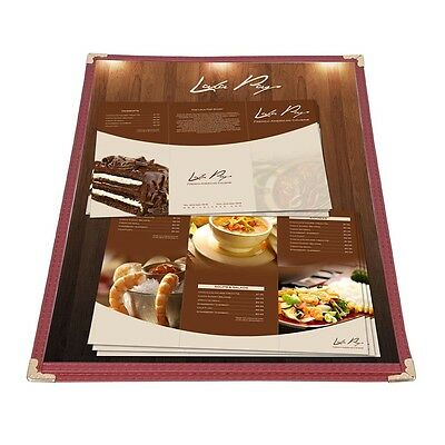 30pc Menu Cover 8.5x14 Single Page Fold 2 View Burgundy Double Stitch Restaurant
