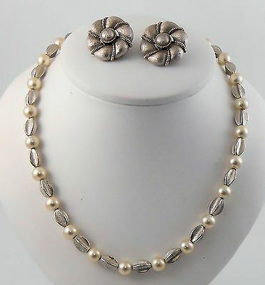 Estate Vintage Crown Trifari Brushed Silver Clip Earrings and Choker Necklace