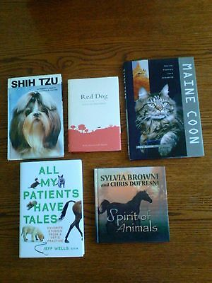 A lot of 5 animal books, feeding care, stories from a vet,  Shih Tzu, etc