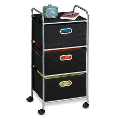 Portable Storage Rolling Cart with 3 Fabric Drawer Storage Organizer ~ Black