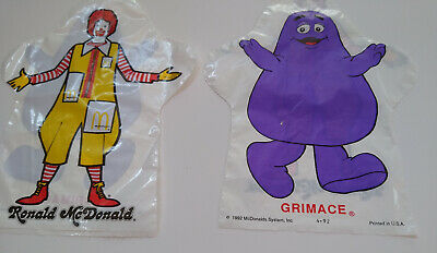 HARD TO FIND!!  Ronald McDonald/Grimace Hand Puppet