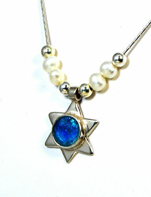 Ancient Roman Glass Star of David  Sterling Silver Jerusalem Israel Holy Land