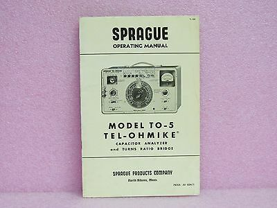 Sprague Manual TO-5 Tel-Ohmike Operating Manual w/Schematics (1957)