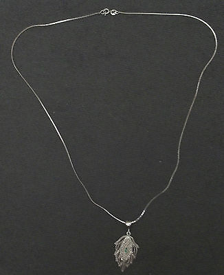 Vintage Sterling Silver(.925) Leafy Shaped Pendant & Chain
