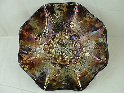 Vintage Electric Carnival Glass Imperial Pansy Bowl - Hard to find Purple!