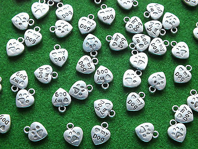Love my Dog Paw Print Charms Tibetan Antique Silver Jewellery Findings & Crafts