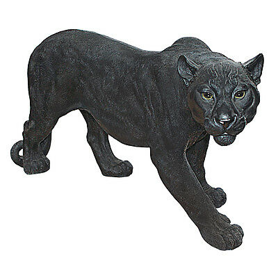 Large: African Wildlife Jungle Stalking Black Panther Sculpture Garden Statue