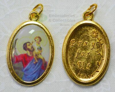 Saint Christopher Medal Pendant, 23x15mm Gold Tone Border, Made In Italy Quality