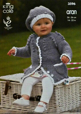 KNITTING PATTERN Baby Long Sleeve Coat with Pockets & Hat Aran King Cole 3596