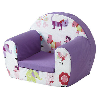 Cute Pets Purple Childrens Kids Comfy Foam Chair Toddlers Armchair Seat Girls Se