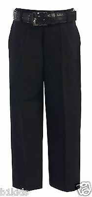 Dress Pants Flat Front With Belt Black White Navy Khaki Kids( 4-7 ) Boys ( 8-20)