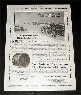 1910 Old Magazine Print Ad, Dietz-Rushmore Multiples Headlights, Oil, Electric!