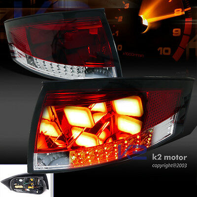 For 1999-2006 Audi TT Red/Clear LED Rear Brake Lamps BMW Style Tail Lights