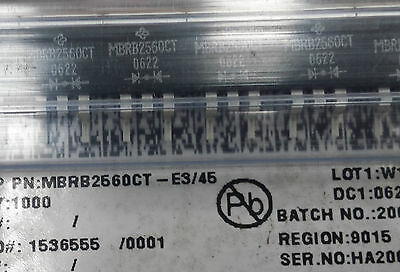 New lot of 25 Vishay Semiconductor MBRB2560CT-E3/45 DIODE ARRAY SCHOTTKY 60V