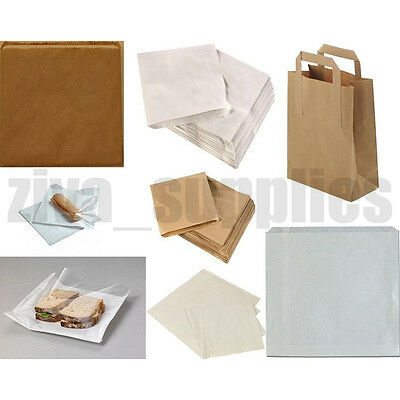 PAPER BAGS White Brown Clear and Kraft for Kids Party Lunch Sandwiches Sweet