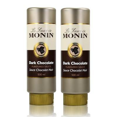 2x Monin Dunkle Schokolade Sauce 500 ml - DarkChocolate Flavoured Sauce