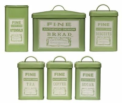 Whitby Tea Coffee Sugar Biscuit Bread Canister Jars Kitchen Utensil Holder Set