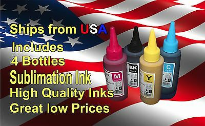 Sublimation Ink  FOR Epson Stylus C88+   4 x 100ml Bottles SUBLIMATION INK