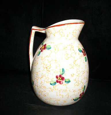 """Vintage Italian Hand Painted Pitcher Gold Pink Green 6 1/8"""""""