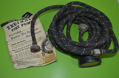 1940's Automobile Truck Car Enginair Tire Pump with Instructions Flyer