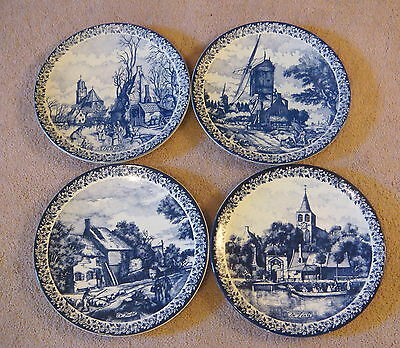 "Vintage Delfts Blauw 4 Seasons Wall Plates ~11 1/2 - 3/4"" - Asst'd Dutch Scapes"
