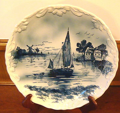 "Vintage 14 3/4"" Delft Charger Wall Plate - Embossed Edges - River/Sailboat Scape"