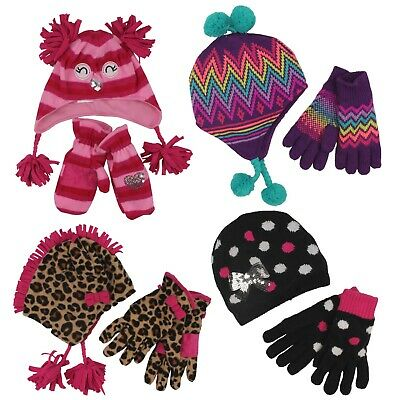 Jumping Beans Winter Beanie Hat & Gloves 2 Piece Set for Toddler Girls