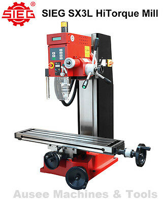 SIEG SX3L HiTorque Milling Machine Large Table Spindle Spd. Display,Tapping Mode