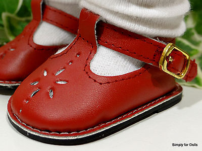 "DEEP RED Leather-Look T-Straps DOLL SHOES for 18"" Girl Doll from AMERICAN SELLER"