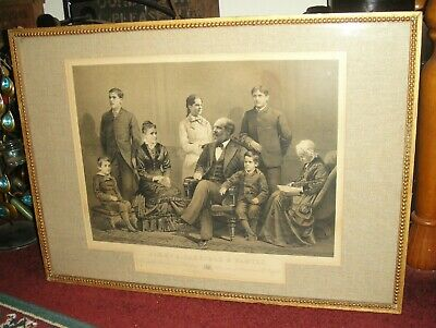 Antique President James A Garfield & Family Engraving-1881-JH Bufford's Sons