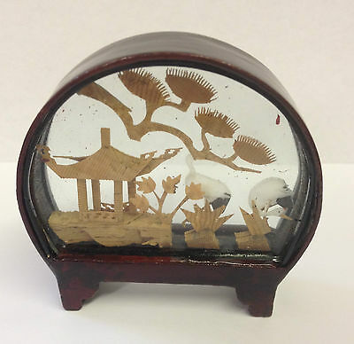 Small Traditional Hand Crafted Chinese Cork Scene in Glass & Wood Frame ~ CS1 A