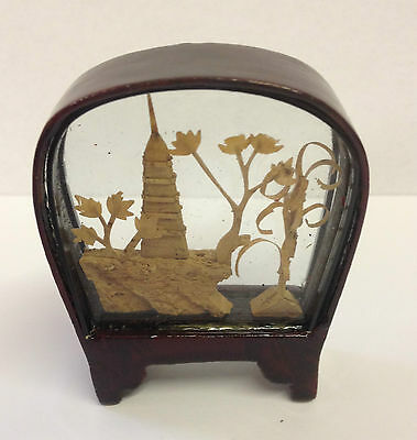 Small Traditional Hand Crafted Chinese Cork Scene in Glass & Wood Frame ~ CS1 C