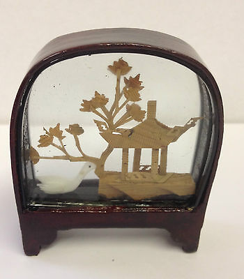 Small Traditional Hand Crafted Chinese Cork Scene in Glass & Wood Frame ~ CS1 E