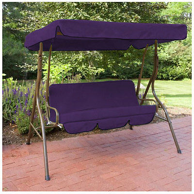 Purple Water Proof 3 Seater Garden Hammock Swing Seat Canopy Cover & Cushion Set
