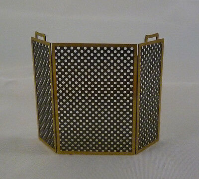 1/24th or 1/2 scale Miniature Dollhouse Black Metal Fireplace Screen Gold Trim