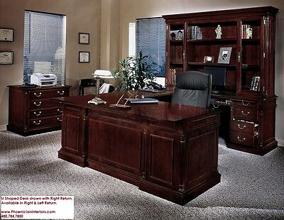 Executive U Shaped Desk with Overhang CHERRY and WALNUT WOOD Office Furniture