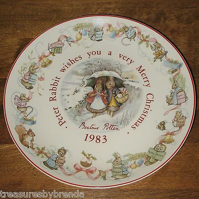 Peter Rabbit Beatrix Potter 1983 Christmas Plate Wedgwood Etruria & Barlaston