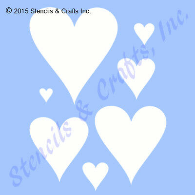 """Heart Stencil Hearts Many Shapes Reusable Template Stencils Craft New 6"""" X 5"""""""
