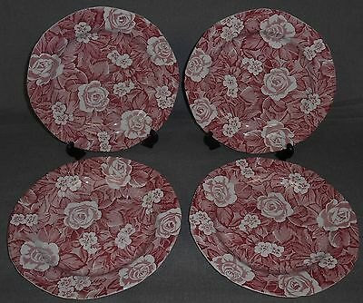 Set (4) Burgess & Leigh PINK VICTORIAN CHINTZ PATTERN Dinner Plates