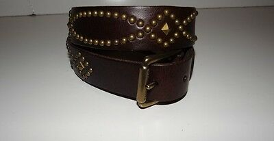 Polo Ralph Lauren Girl's Brown Leather Studded belt Size: 28 & 30 Msrp $65 SALE